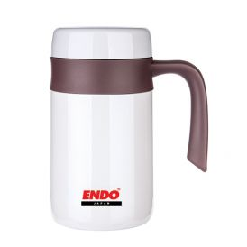 ENDO 400ml Double S/Steel Desk Mug With Fine Porcelain Interior CX+1009