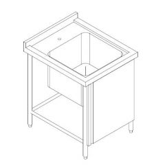 SS SINGLE BOWL SINK TABLE CW FRONT DOOR 900MM