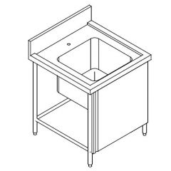 SS SINGLE BOWL SINK TABLE CW FRONT DOOR 1000MM