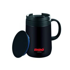 ENDO 480ML Desk Mug + Tea Strainer CX-3003 (Stark Black)