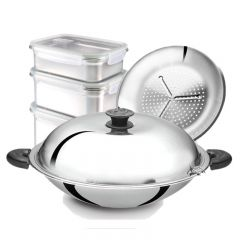 PROMOTION! BUFFALO 40cm Stainless Steel Round Bottom Wok + Stainless Steel 304 Food Container Set C/W Airvent BY01+SP111