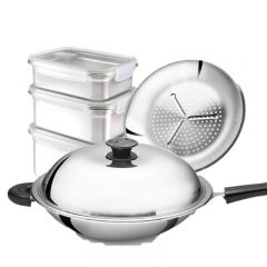 PROMOTION! BUFFALO 35cm Stainless Steel Round Bottom Wok + Stainless Steel 304 Food Container Set C/W Airvent BY02+SP111