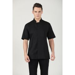 GREENCHEF Peppermint Black Chef Jacket (Short Sleeve, Dry Fit) CBS8058PC