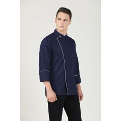 GREENCHEF Sage Navy Blue Chef Jacket (Long Sleeve) CNBL8059PC