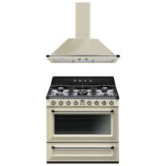 SMEG Victoria cooker with Wall Mounted Decorative Hood - Cream COO-VIC-90-P