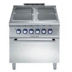 ELECTROLUX 4 Hot Square Plate Electric Range + Oven 800mm 380-400V/3N/50Hz E9ECEH4QE0 (391041)