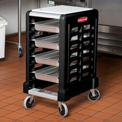 RUBBERMAID 8 Slot End Loader Prep Cart with Cutting Board (Full Size Insert Pans) FG331500BLA