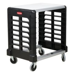 RUBBERMAID 8 Slot Side Loader Prep Cart with Cutting Board (Food Boxes and Sheet Pans) FG331600BLA