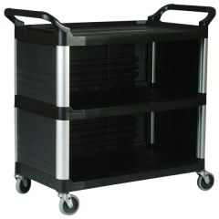 RUBBERMAID X-Tra Utility Cart with 3-Sided Panels FG409300BLA