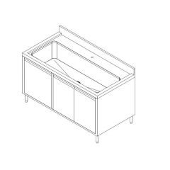 Stainless Steel Pot Wash Sink Counter Cabinet