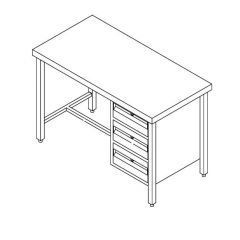 Stainless Steel Hospital Work Table with Drawer