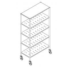 Stainless Steel 5 Tier Perforated Rack with Wheels