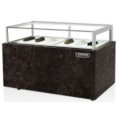 SKIPIO 900MM Chocolate Showcase Freezer with Digital Hygrometer and Drawer SCD-900D