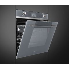 SMEG 60cm SS Linea Series Electric Thermoventilated Oven, Silver Glass SF6102TVS