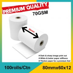 RESTAURANT THERMAL PAPER ROLL 80x60x12 For CASH REGISTER OR POINT OF SALE (100roll/ctn)