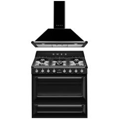 SMEG Victoria cooker with Wall Mounted Decorative Hood - Black COO-VIC-90-BL