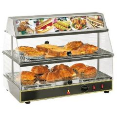 ROLLER GRILL Two levels Display Warmer with Humidity Control & Top Illuminated Display WDL-200 INOX
