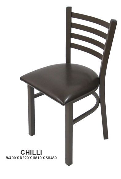 Chilli Dining Chair | Cushion Seat | Steel Frame in Epoxy