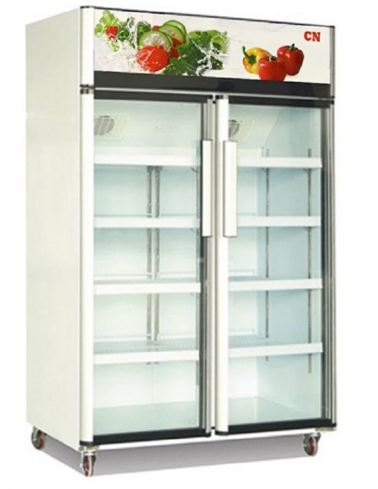 CN Double Glass Door Display Chiller With Assisted Fan Cooling CN-2GDC-3.EFA.HO08