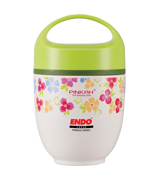 ENDO 650ML Double S/Steel Food Jar (Floral Green) CX-4008