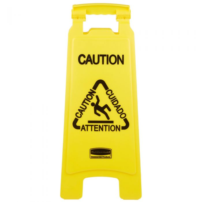 WET FLOOR Rubbermaid Executive 2-Sided Multi-Lingual Wood Caution Sign