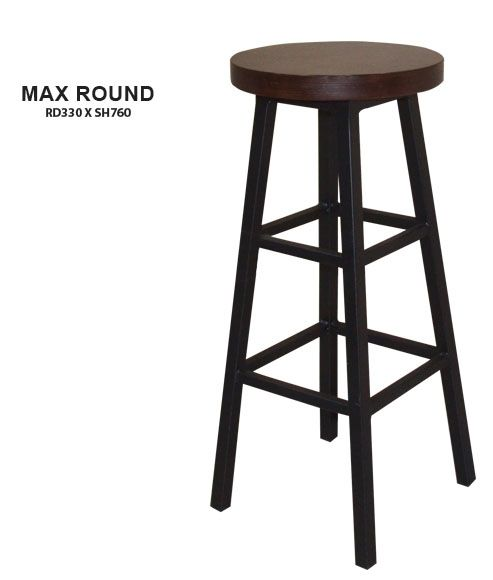 Max Round Bar Stool | Wooden Seat | Steel Frame