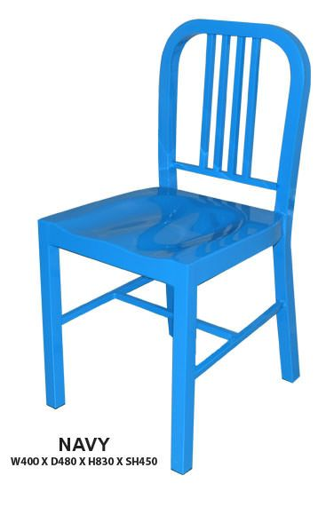 Navy Dining Chair | Steel Frame in Epoxy