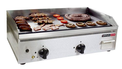 ANVIL Griddle Gas Half Ribbed Half Flat Top 750mm FTA1750
