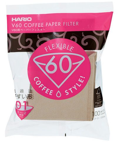 Hario V60 Paper Filter 01 W 100 sheets (unbleached) VCF-01-100M