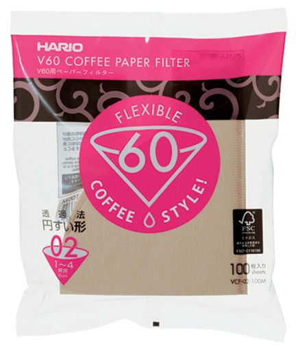 Hario V60 Paper Filter 02 W 100 sheets (unbleached) VCF-02-100M