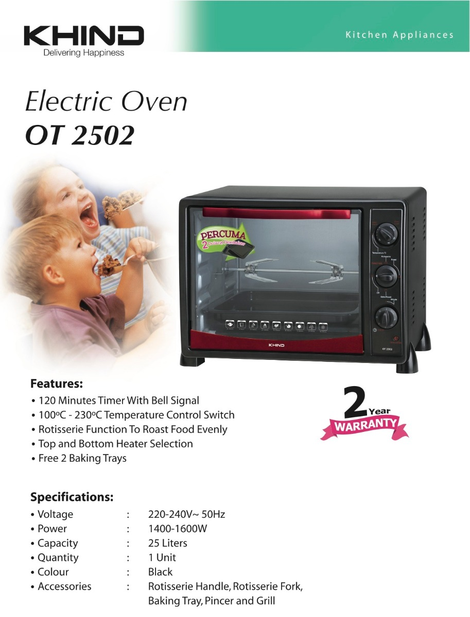 KHIND 25L Electric Oven with Rotisserie OT 2502 | Kitchen Equipment Online  Store